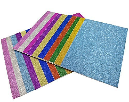 Misscrafts Pack of 20 sheets 10 x 15cm Self-Adhesive Gemstone Metallic Glitter Art Sign Vinyl Sticker Sticky Paper Assorted Colours Gold Silver etc DIY Hobby Crafter Wrapping Gift