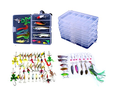 hengjia Mixed Angelköder Set Kit 11 Modelle Popper/Kurbel/Spinner Löffel/Bleistift/Frosch/Soft Larven Shads Schrumpfschlauch Set Kunstköder 63pcs in 5boxes