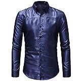 MRULIC Herren Gestreiftes Herrenhemd Langarm Button-Down T-Shirt Top Oberteile(Blau,EU-48/CN-XL)