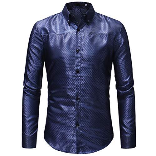 MRULIC Herren Gestreiftes Herrenhemd Langarm Button-down T-Shirt Top Oberteile(Blau,EU-50/CN-2XL)