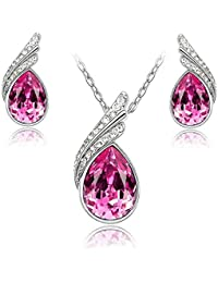 Elements Crystal Teardrop Jewellery Set, Pink