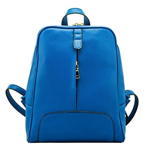 Epoca Della Scuola Zaino In Pelle Borsa A Tracolla Del College Zaino PU Per Le Donne Multicolor Blue