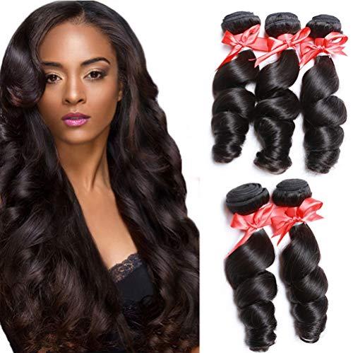 hte Haarvorhang Menschliches Haar Echte Menschenhaarbündel Schuss brasilianische Jungfrau Körper Welle Hair,Black,26inches ()