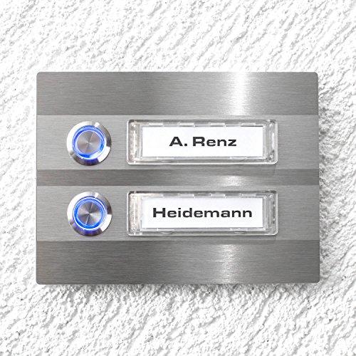 Metzler-Trade® Türklingel - 2-fach Klingelplatte aus Edelstahl - Namensschild austauschbar - mit LED-Taster und Beleuchtung (optional) - (Namensschild mit Beleuchtung, LED-Taster weiß)