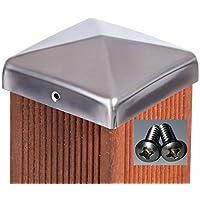 Pfostenkappe Edelstahl Pyramide für Pfosten 10x10 cm, inkl. VA-Schrauben 3,9x16 mm