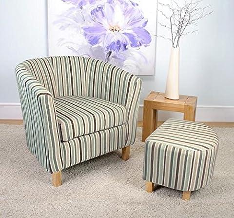 Roma Oak Stripe Fabric Duck Egg Blue Tub Chair Stool Set