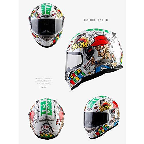 AMZ BCS Casco Integrale da Motociclista Casco da Strada Casco da Gara Stradale ECE Caschi Standard Anti-Fog Lente Doppia Staccabile Fodera Confortevole Finestra Antivento stereoscopica,M