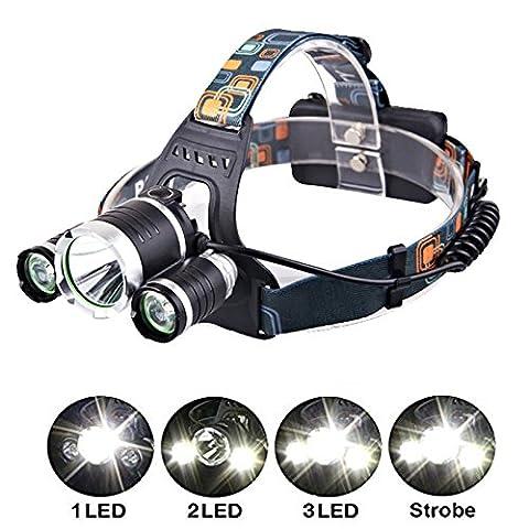 Siuyiu lumière lampe frontale à LED avec 4modes, 5000LM 3* Tête de XML T6les lampes de poche rechargeable étanche éclairages avant Phare avec lampe de poche Camping Randonnée Pêche à