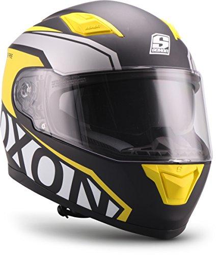 """Soxon® ST-1000 Race \""""Yellow\"""" · Integral-Helm · Full-Face Motorrad-Helm Roller-Helm Scooter-Helm Cruiser Sturz-Helm Street-Fighter-Helm Sport MTB · ECE Sonnenvisier Schnellverschluss Tasche L (59-60cm)"""