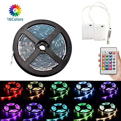 Luces de tira del RGB LED de 3 metros, luces de tira flexibles de las luces de tira del RGB LED a batería impermeables, luces de tira que cambian de color