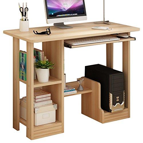 Klapptisch ZHIRONG MDF-Computer-Schreibtisch-PC-Tabellen-Innenministerium-Möbel mit gleitender Tastatur und Schrank (Farbe : Holzfarbe) -
