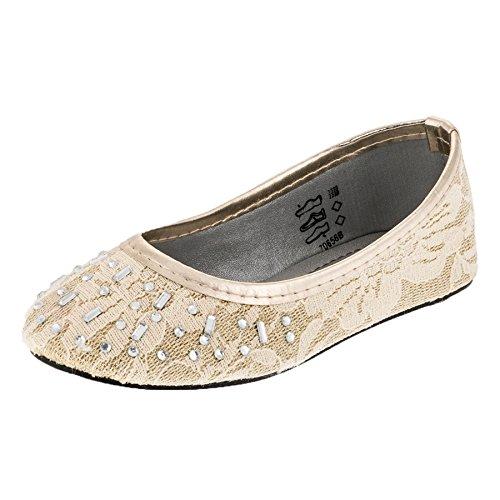 Festliche Mädchen Ballerina Schuhe in vielen Farben M279go Gold Gr.29