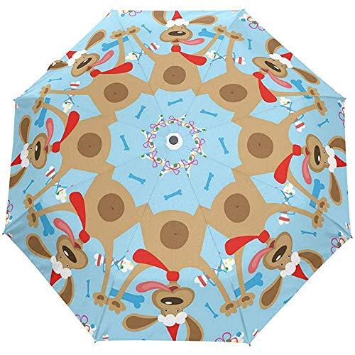 Merle House Frohe Weihnachten Cute Dog 3 Falten Auto Öffnen Schließen Regenschirm Leichte Drop UV-Schutz Winddicht Automatische Regenschirme für Frauen Männer -