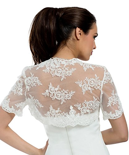 MGT-Shop - Boléro - Femme weiß, ivory/creme, schwarz - blanc