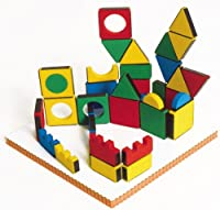 Unique 3 dimensional magnetic construction blocks incorporating colorful shapes for endless creations. Magnetic play board is included.