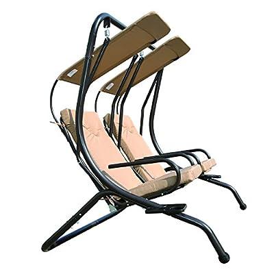 Angel Living 5864600 Hollywoodschaukel Gartenschaukel 2 Sitzer Khakifarben gepolstert aus Stahl von Angel Living bei Gartenmöbel von Du und Dein Garten