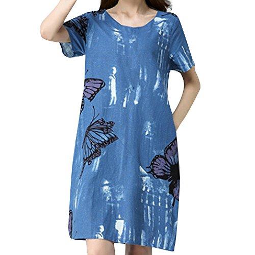 QUINTRA Damen Plus Größe Bohemian Cotton Leinenkleid Kurzärmliges Kleid mit Schmetterlingsdruck
