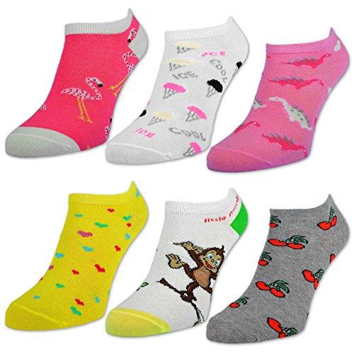 6 oder 12 Paar Kinder Sneaker Socken Jungen & Mädchen Baumwolle - sockenkauf24 (31-34, 6 Paar | Mädchen) (Socken-füßlinge Mädchen)