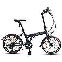ECOSMO 21SP 20F03BL - Bicicleta de ciudad plegable, 20