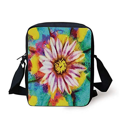 Psychedelic Decor,Oil Paint of Blooming Peyote Flower Abstract Petal Floral Print Image,Turquoise Pink Print Kids Crossbody Messenger Bag Purse (Paint Ball Guns Pink)