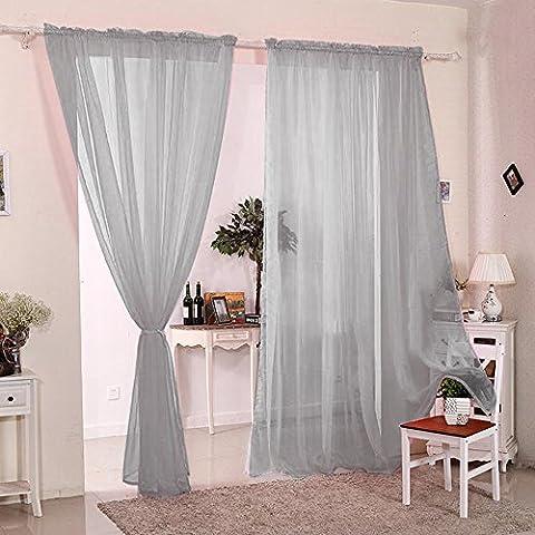2 Stück Gardine Vorhang transparent Grau aus Voile Dekoschal 140x230cm