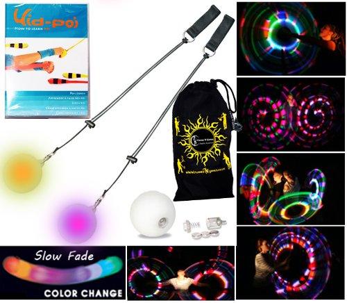 PRO Bolas Lumineuses (multicolore) Lent fondu de couleur - Flames N Games LED Poi jonglage Bolas Swing Lumineux + KID POI DVD EN FRANÇAIS + Sac de voyage!