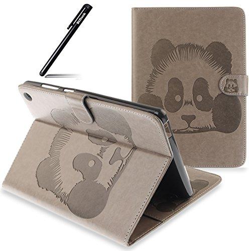 BtDuck Schutzhülle für ASUS Zenpad S 8.0 Z580CA Grau, PU Leder Tasche Cover Etui Ledertasche für ASUS Zenpad S 8.0 Z580CA/Z580C Panda Wallet Bumper Case Ständer Tasche Handyhülle Silikon