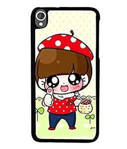 Fuson Premium Little Girl Metal Printed with Hard Plastic Back Case Cover for HTC Desire 820