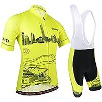 BXIO Maillot Ciclismo Hombre, Ropa Ciclismo y Culotte Ciclismo con Culotte Pantalones Acolchado 3D para Deportes al Aire Libre Ciclo Bicicleta, Amarillo, XXL