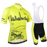 BXIO Abbigliamento Sportivo per Bicicletta, Maglia Ciclismo Maniche Corte con Pantaloncini Abbigliamento per MTB Ciclista, Modello di Città, Giallo, XXL