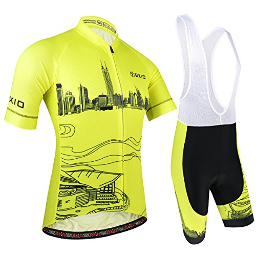 BXIO Radtrikot Set Herren Kurz, Fahrrad Bekleidung Kurzarm mit Radlerhose Bib Shorts für Pro Team, Stadtmuster, Gelb, M