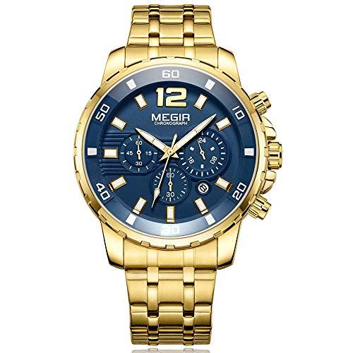 Relojes para Hombre Dorado, Reloj Azul Grandes Esfera, Relojes Militar Acero inoxidable Oro con Calendario...