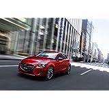 """Clásico y músculo anuncios de coche y COCHE (Mazda Demio (2015) coche Póster en 10mil Archival papel satinado rojo frente movimiento lateral Vista, papel, Red Front Side Motion View, 36"""" x 24"""""""