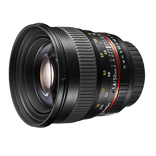 Walimex Pro 50mm 1:1,4 DSLR Porträt Objektiv für Nikon F schwarz (manueller Fokus, für Vollformat Sensor gerechnet, IF, Filterdurchmesser...