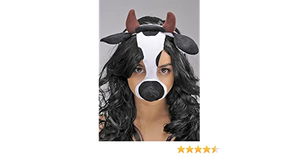 Masks Cow Mask On Headband with Ears and Horns Bristol Novelty