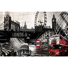 Innova FP05452 - Cuadro en lienzo (imprimido, 60 x 90 cm), diseño de collage de Londres
