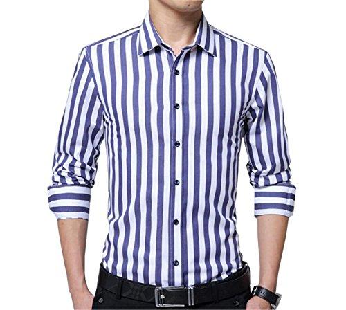 CHLXI Camisa De Manga Larga A Rayas De Los Hombres Algodón M-5XL Cinturón De 152b79a3da6