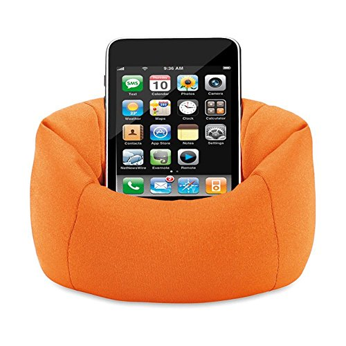 Mobile Holder bean bag with beans orange color easy to keep any where for all models multimedia hand set by Aart Store  available at amazon for Rs.249