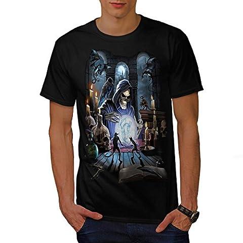 Reaper Crow Spell Dark Grim Face Men Black XXXL T-shirt