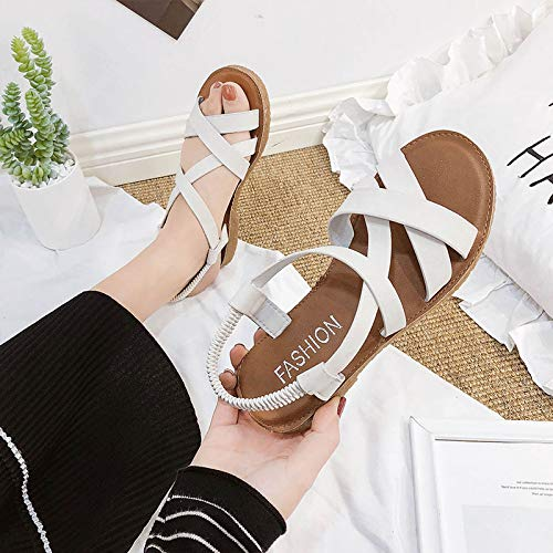 Uhrtimee Sandals Female 2019 New Summer Wild Korean Women's Shoes Sen Female Students Flat Shoes College Fashion Roman Shoes, 35, Beige Ballet Shoes-bänder