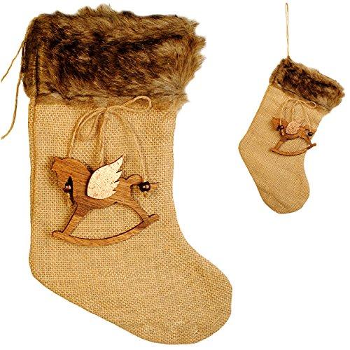 """10 Stück _ große - Weihnachtssocken & Filzstrümpfe - """" Schaukelpferd mit Flügel """" - Nikolausstiefel - Nikolausstrumpf / Weihnachtsstiefel - großer Geschenke Strumpf - Weihnachten - Dekosocke / Dekostrumpf - Weihnachtsstrümpfe / Beutel zum selbst Befüllen & Aufhängen - Weihnachtssocke - Kamin Filzschuh Filzstiefel - Geschenkesack - Weihnachtsdeko / Geschenkverpackung - Nikolaussocke - Socke Strümpfe / Geschenkestiefel - Einhorn / Weihnachtsmann - Fellrand"""