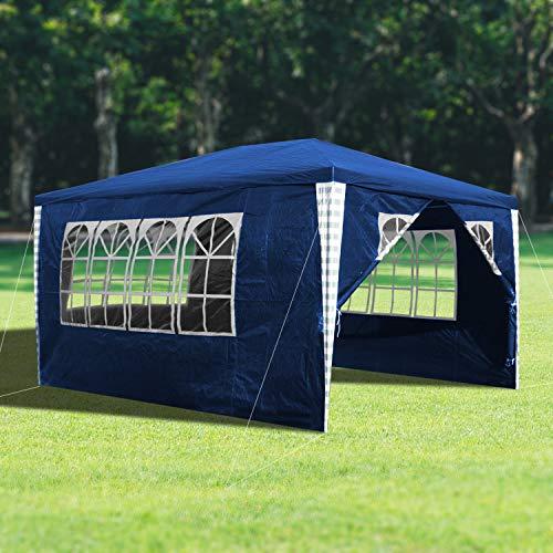 wolketon 3x4m Gartenpavillon Stabiles hochwertiges Pavillons UV-Schutz Garten Strand Partyzelt Blau mit 4 Seitenteilen Praktischer zelt