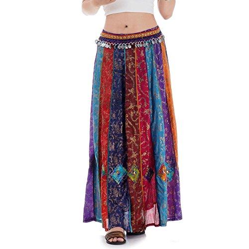 Langer Hippie Batik Patchwork Gypsy Zigeuner Rock (Zigeuner Kleidung Rock)