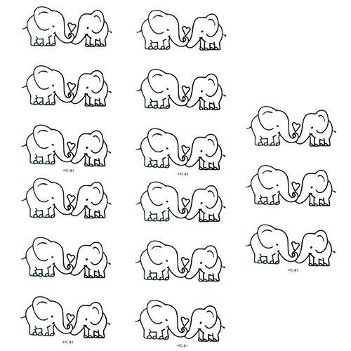 SEGRJ 5 Stück schöne Elefanten Muster temporäres Tattoo niedliche wasserdichte Körperkunst Aufkleber