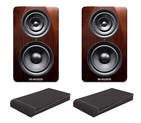 """2 Stück M-Audio M3-6 Studio Monitore Set mit 2x 7"""" Dämmkeilen (Mittel- und Hochtöner in coaxialer Anordnung, 6"""" Tieftöner, 5""""/1"""" Mittel-/Hochtöner, 160 W, 3-Band EQ & Hochpassfilter) Schwarz/Braun"""