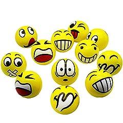 Idea Regalo - Emoji Anti-Stress Palla Stress Compressione Palla Facciale Giocattolo per Adulti E Bambini Festa di Compleanno O Natale Regalo di Natale 12 PCS