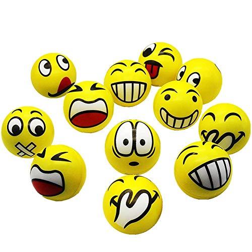 Emoji Anti-Stress Ball Knitter Smiley Gesicht Mit Lustigem Gesicht Druckentlastung Spielzeug Erwachsenes Kind Anti-Stress Ball 12 Stücke - Emojis Stress-bälle