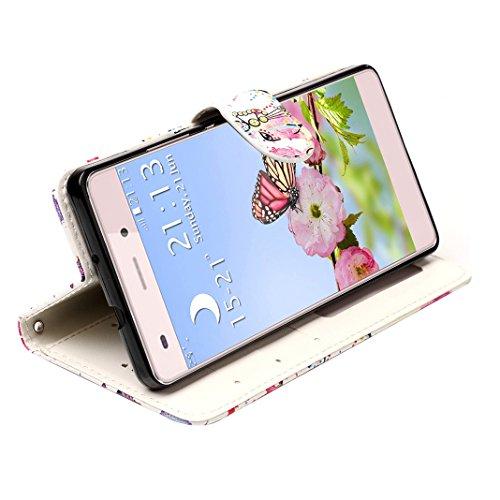Huawei P8 Lite Hülle Gold, Huawei P8 Lite 2015 Handytasche Rosa Schleife PU Ledertasche Flip Wallet Book Case Embossed Mandala Schutzhülle mit Magnet Kartenfächer Standfunktion Handyhülle Etui für Hua B - Blau und Lila
