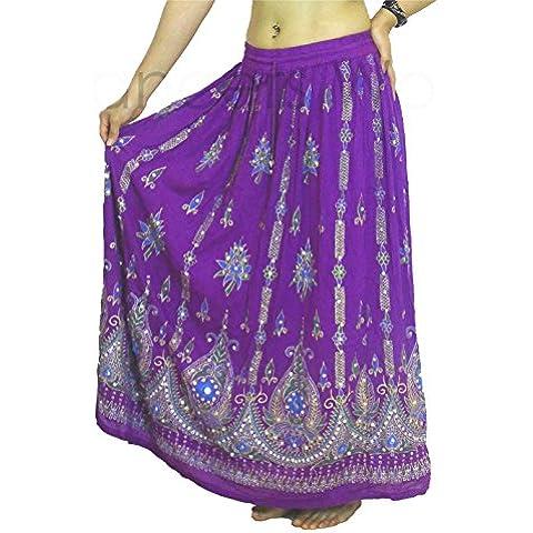 Sequin indiano gitana, colore: malva, motivo tribale per la danza del ventre, con gonna-SUN SUMMER