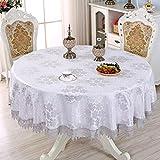Grand Nappe Ronde Tissu Européenne Rond Maison Restaurant Table Nappe De Table Basse Table Simple Moderne Petite Table Ronde (Couleur : Blanc, taille : 130cm)